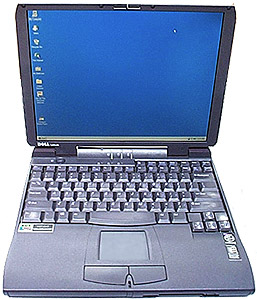 used laptop, Dell Latitude CPi A400XT, windows 95 laptop with serial port and floppy drive